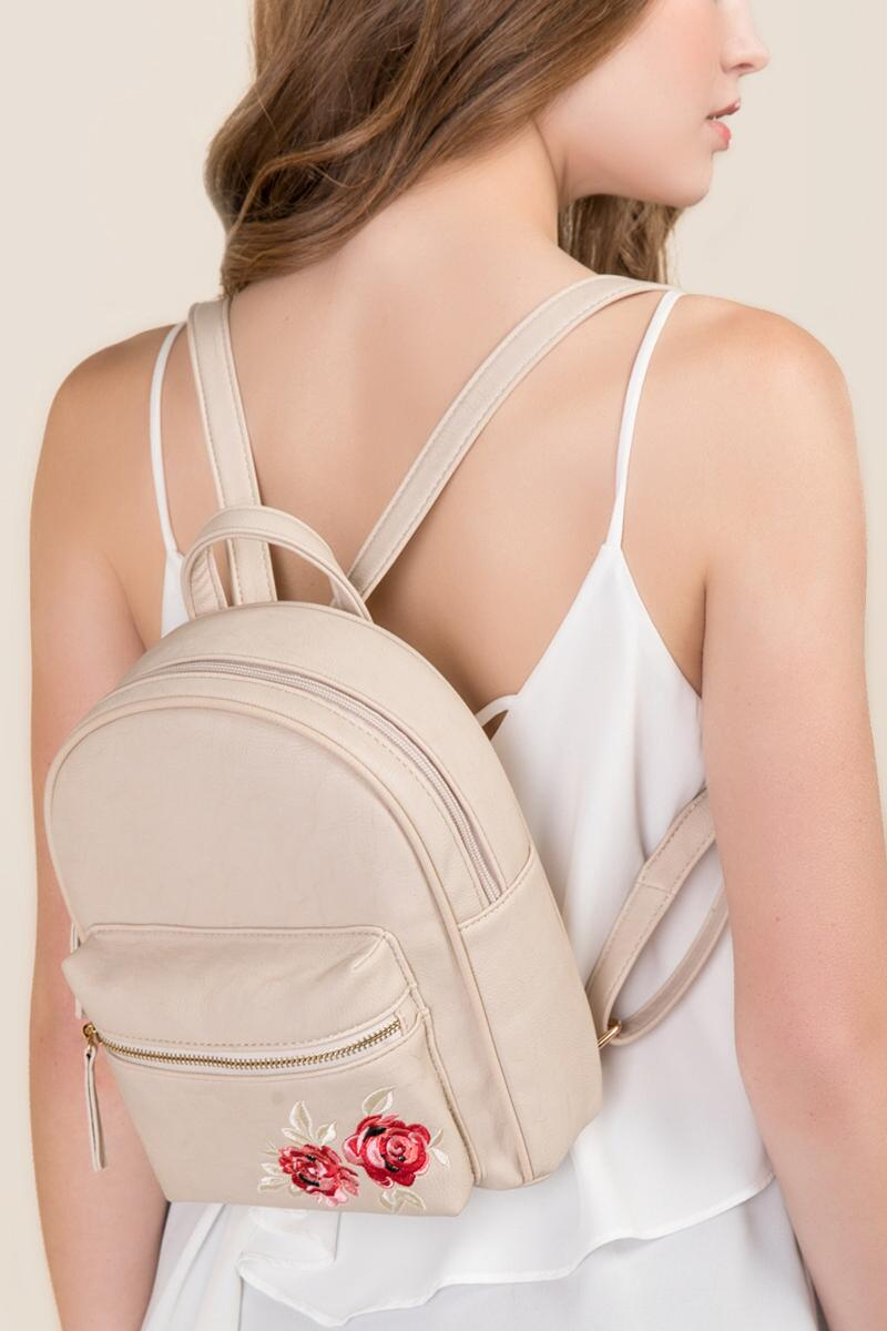 Brooke Rose Embroidered Backpack-  taup-clmodel