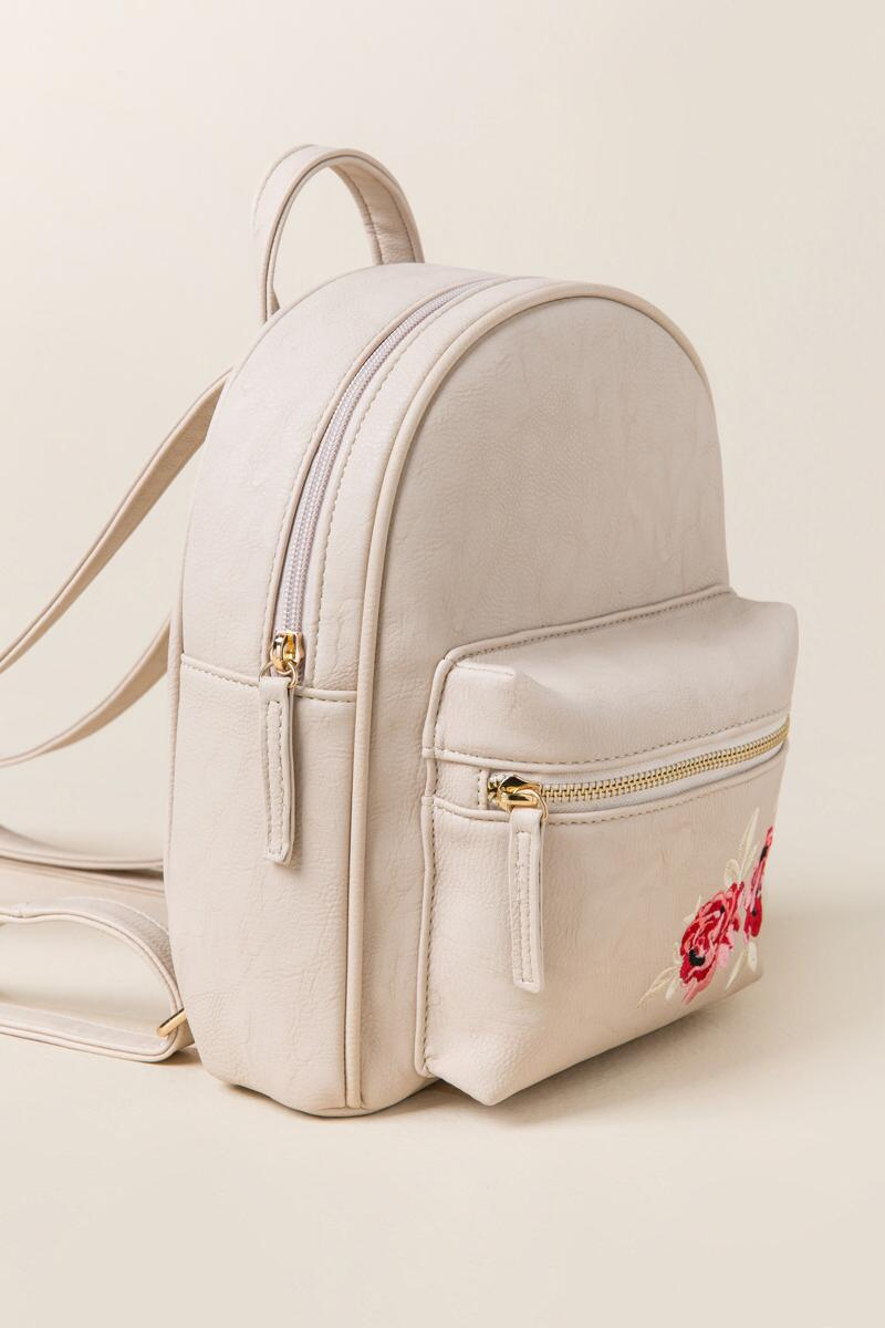 Brooke Rose Embroidered Backpack-  taup-clside
