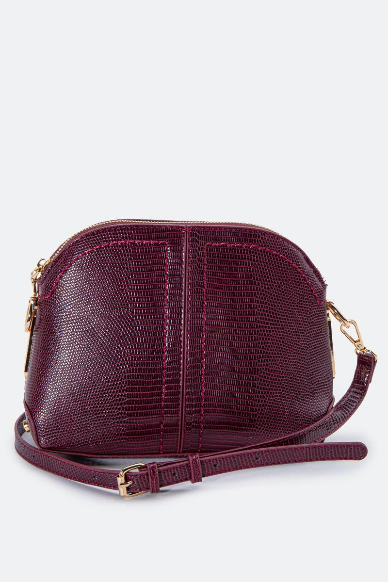 Angela Dome Embossed Crossbody-Wine