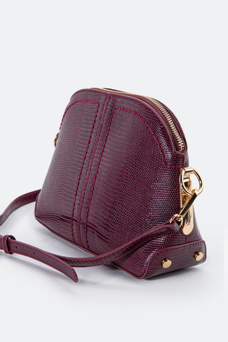 Angela Dome Embossed Crossbody-Wine 3
