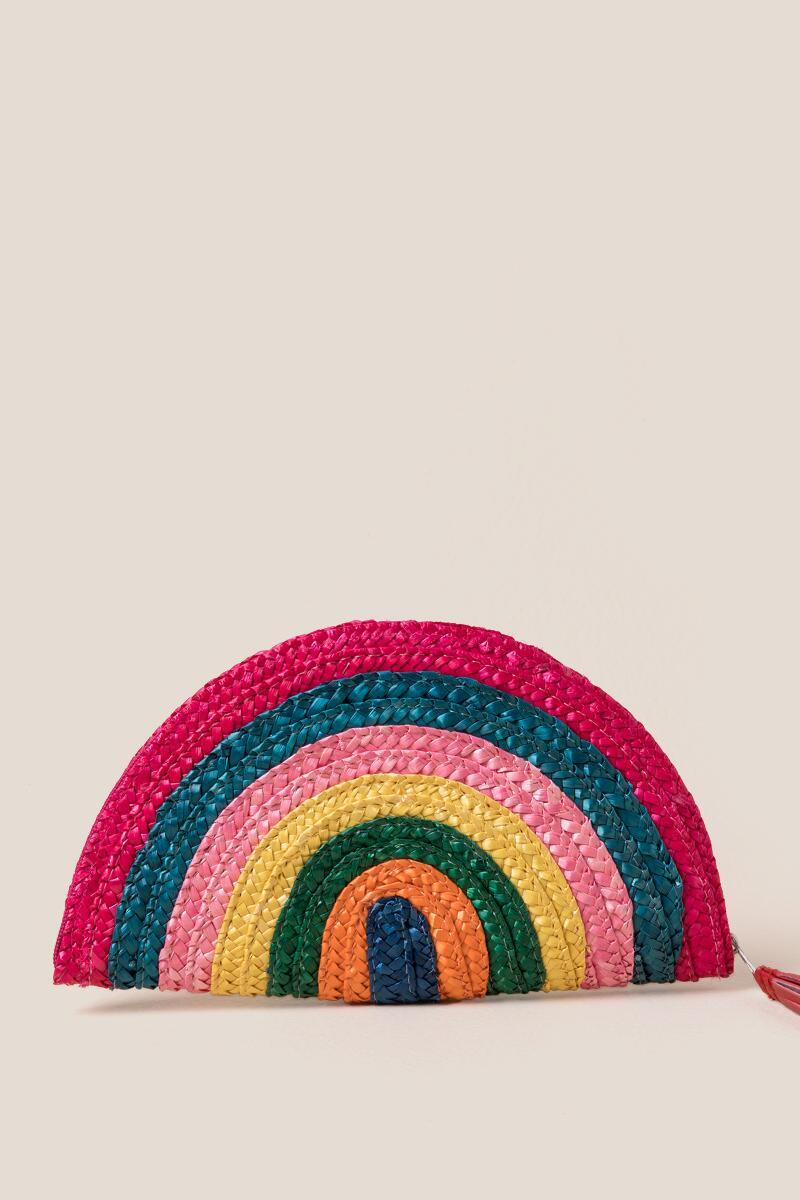 Elaine Rainbow Striped Clutch