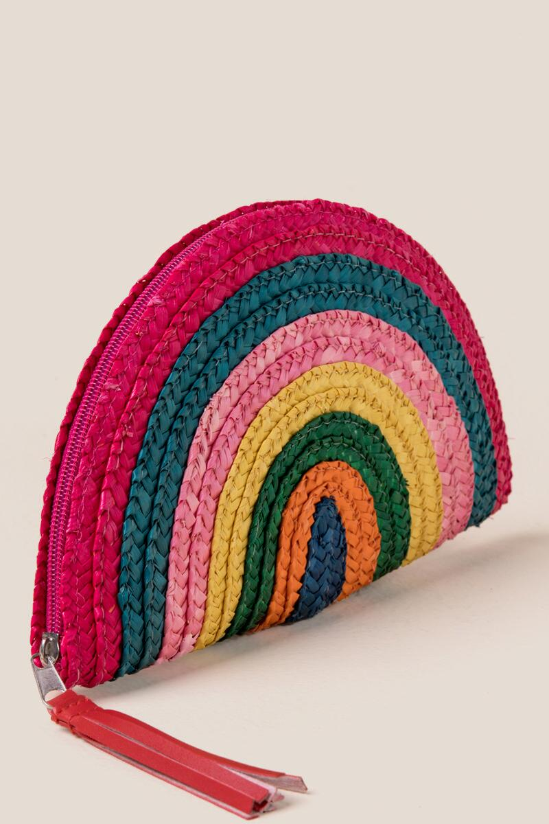 Elaine Rainbow Striped Clutch-  mult-cl2