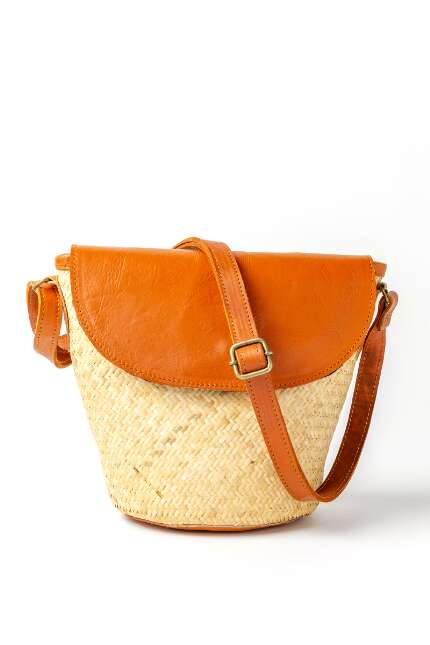 Straw and Tan Flap Crossbody