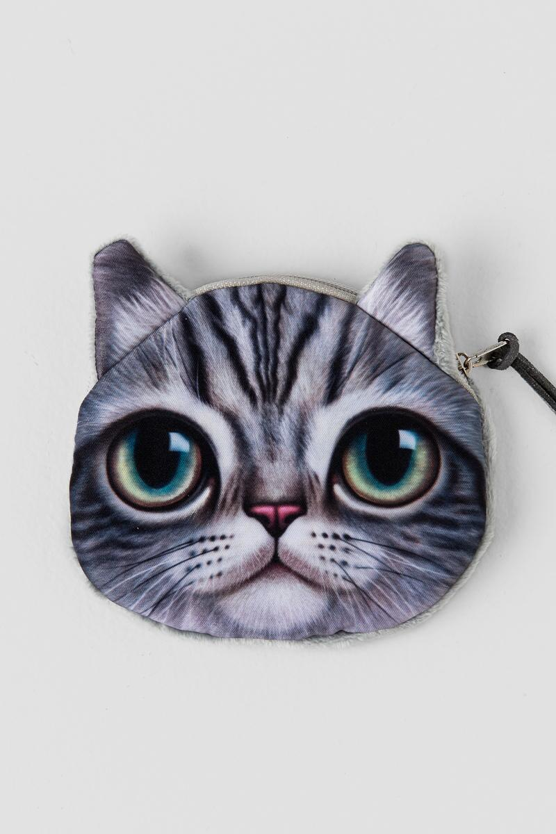 Big Eyes Cat Pouch-  gray-cl