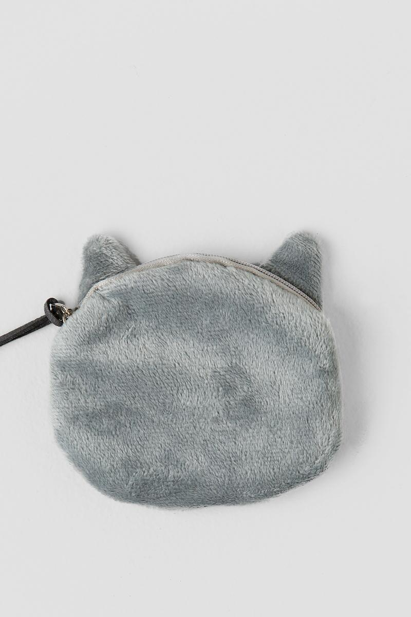 Big Eyes Cat Pouch-  gray-clback