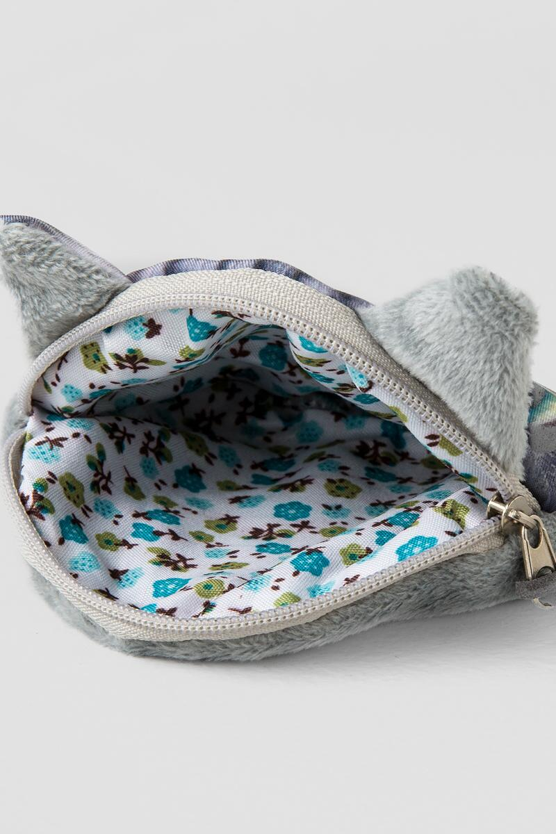 Big Eyes Cat Pouch-  gray-clinside