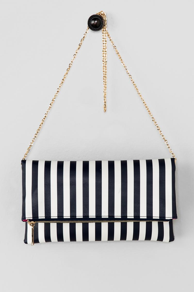 Ana Stripe Clutch-  navy-cl