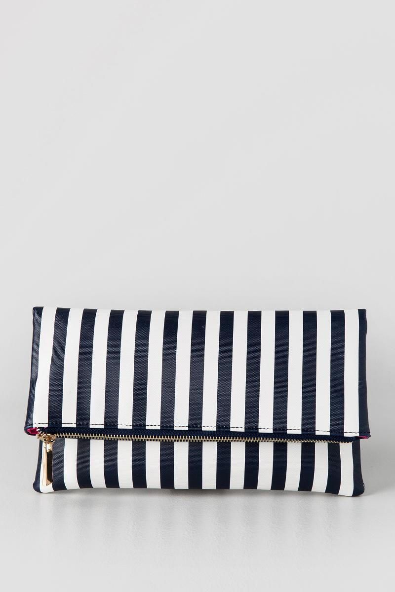 Ana Stripe Clutch-  navy-clfront