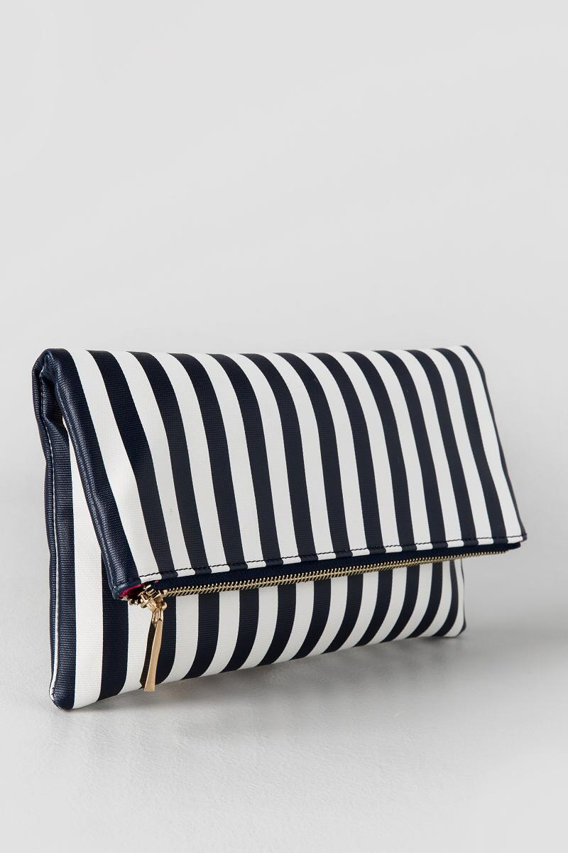Ana Stripe Clutch-  navy-clside
