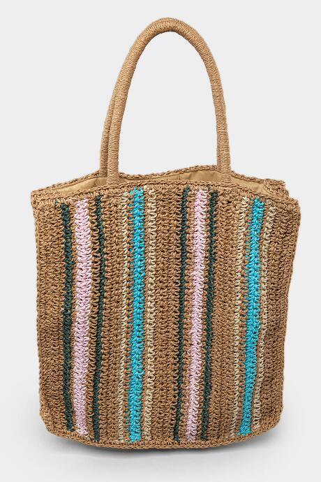 Adalee Multi Stripe Straw Tote - Natural
