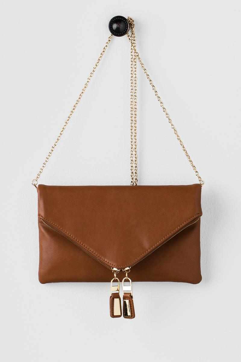 Zuri Angled Clutch-  tan-cl