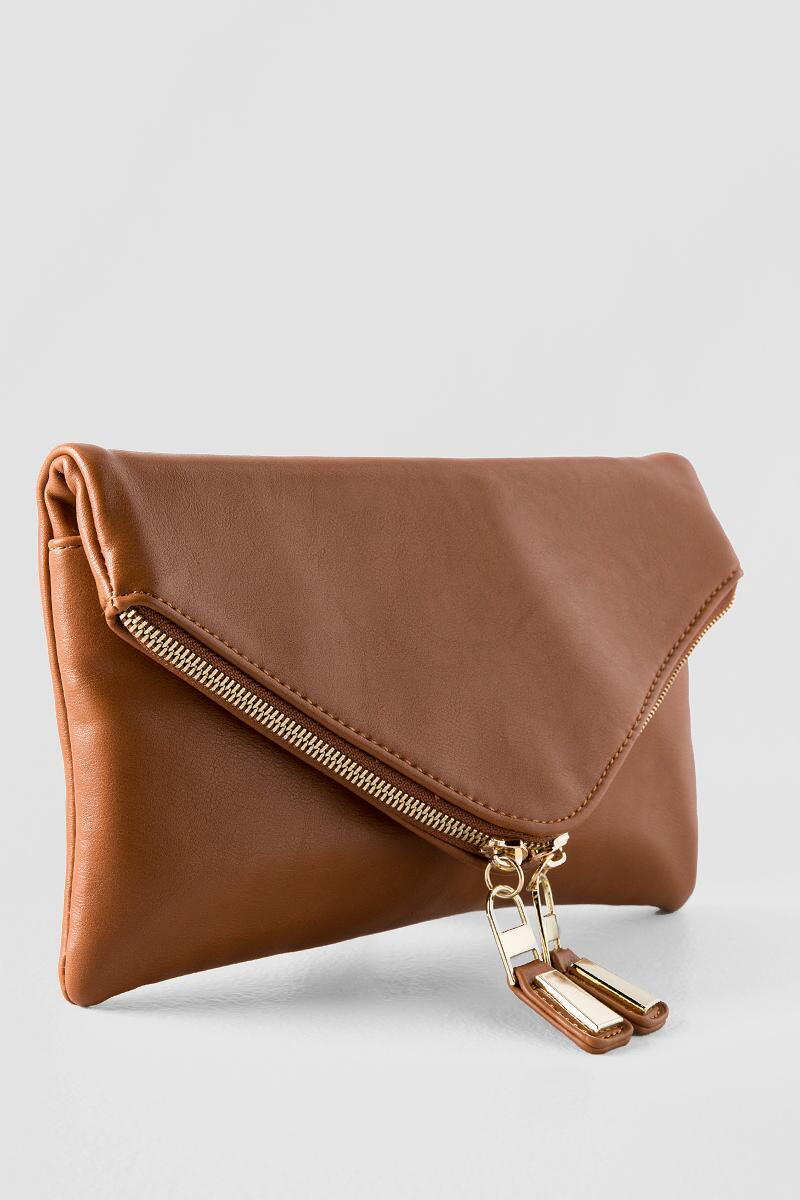 Zuri Angled Clutch-  tan-clside