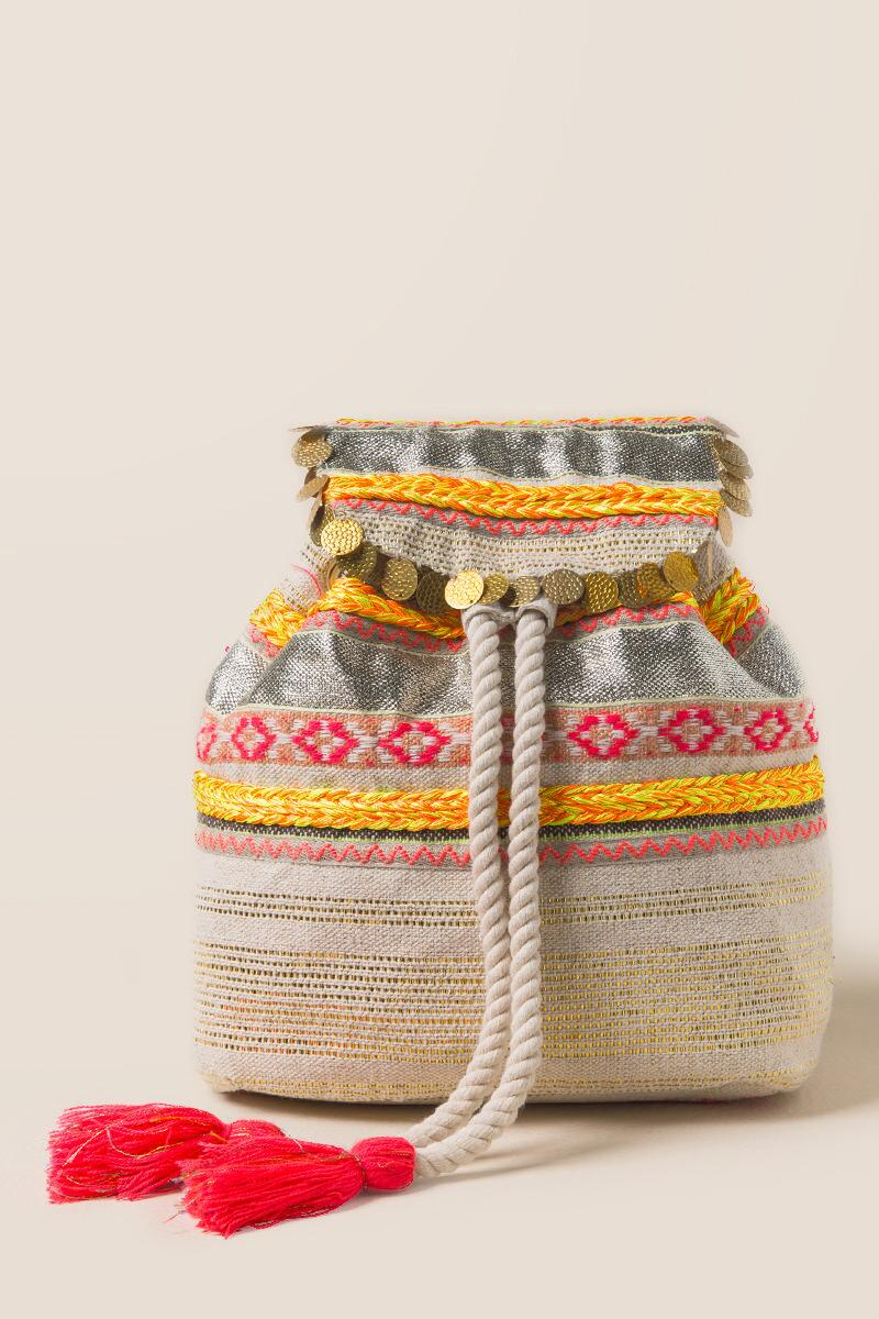 Jelsa Neon and Metallic Embroidered Backpack