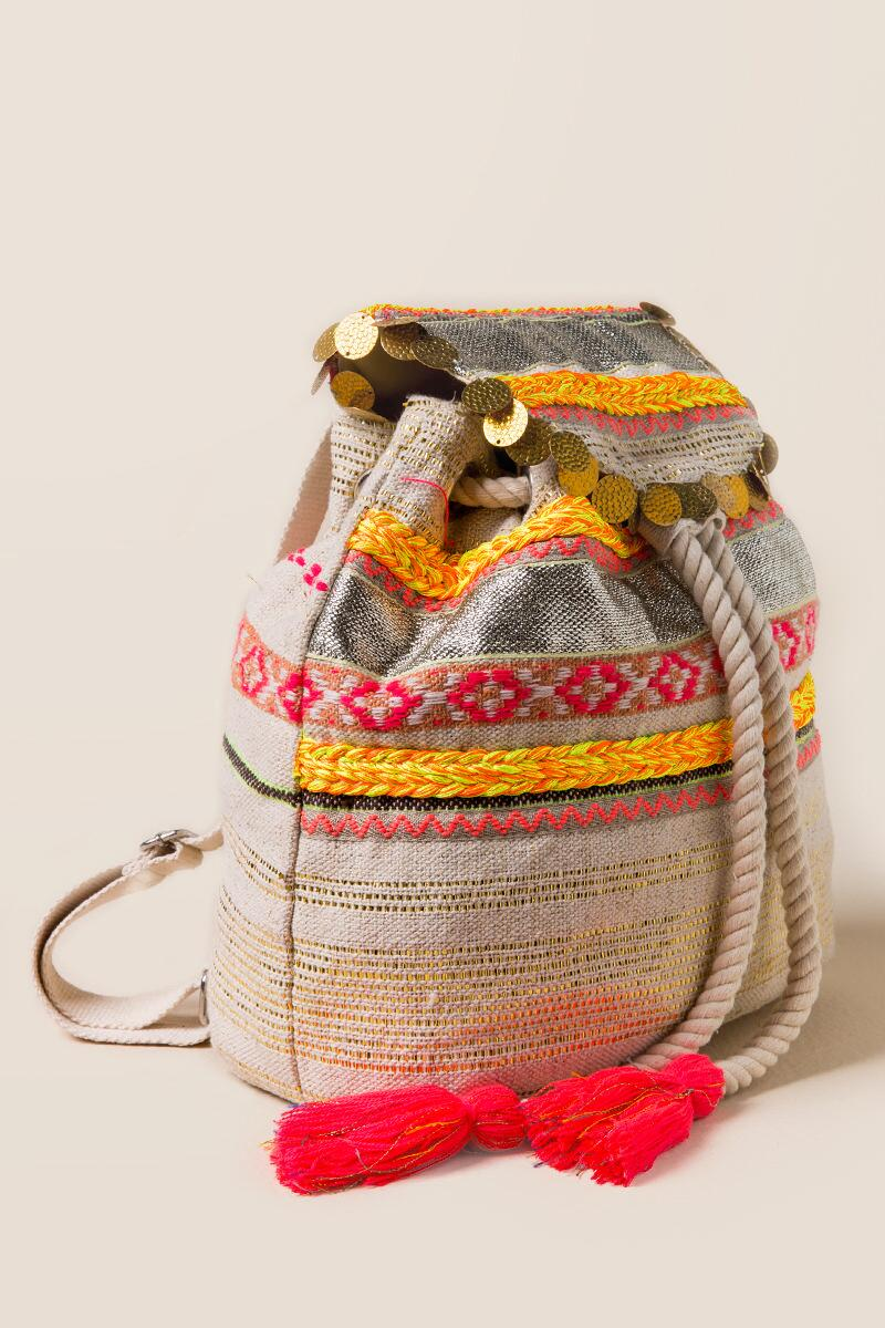 Jelsa Neon and Metallic Embroidered Backpack-  npink-clside