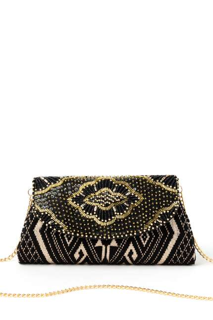 Gabby Graphic Beaded Clutch