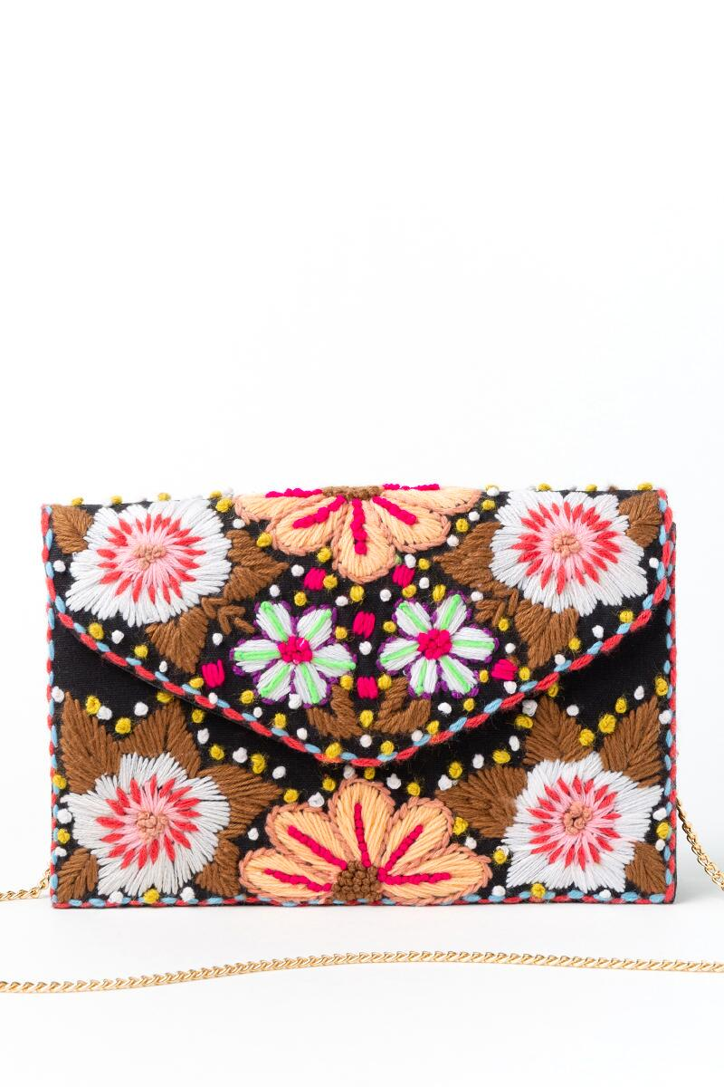 Kim Floral Embroidered Clutch- Pink