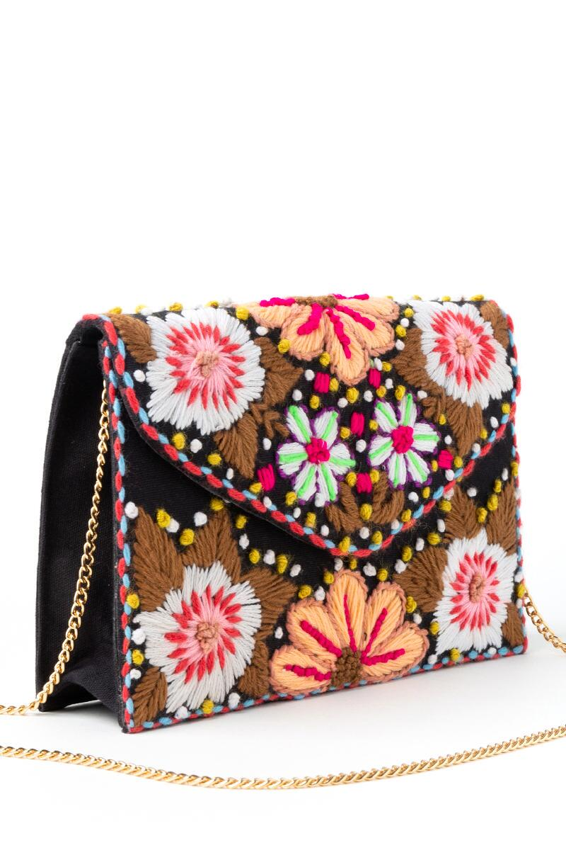 Kim Floral Embroidered Clutch- Pink 2