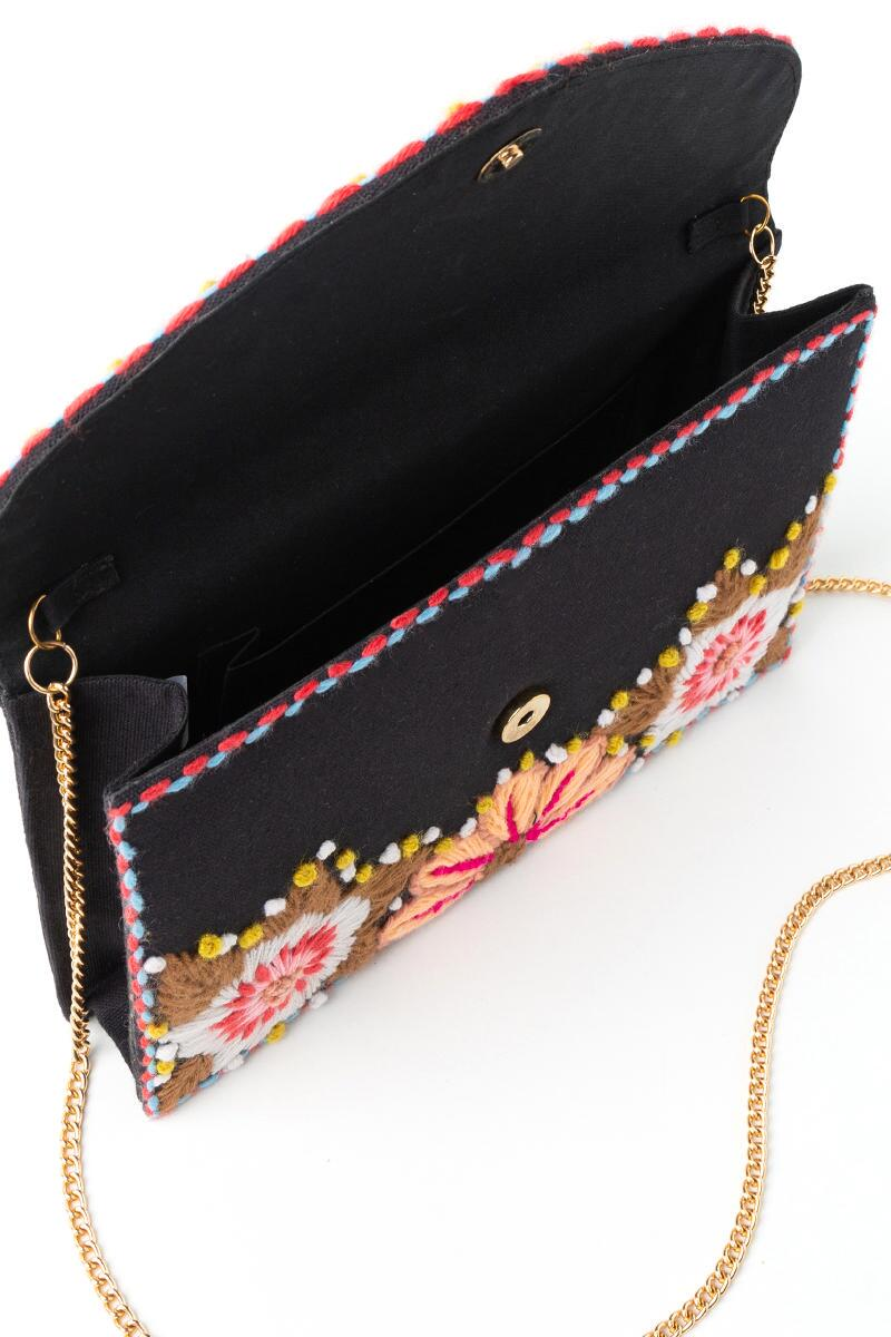 Kim Floral Embroidered Clutch- Pink 3