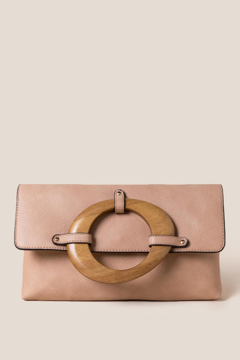 Sydney Wood Handle Clutch-Natural