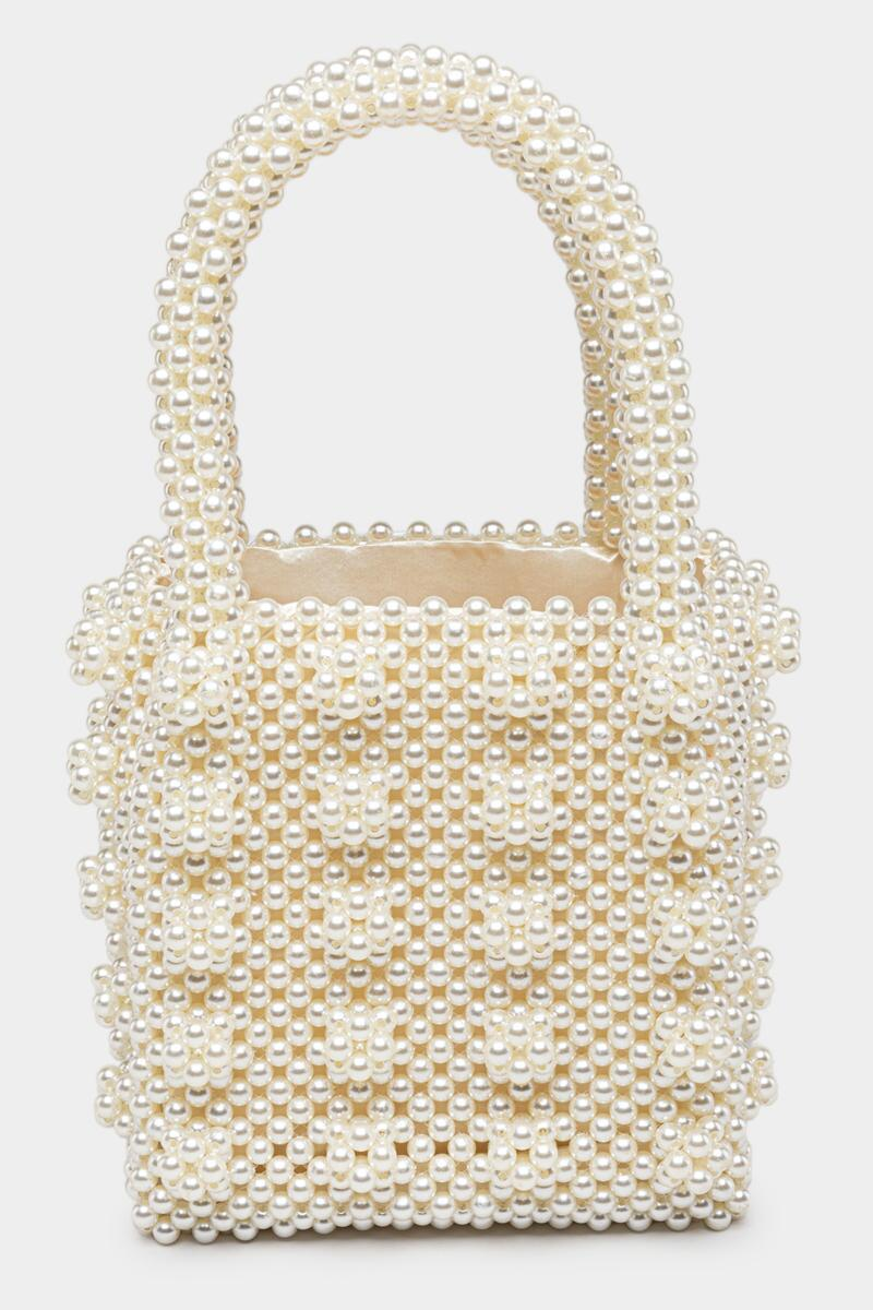 Erin Beaded Pearl Tote-  ivry-cl