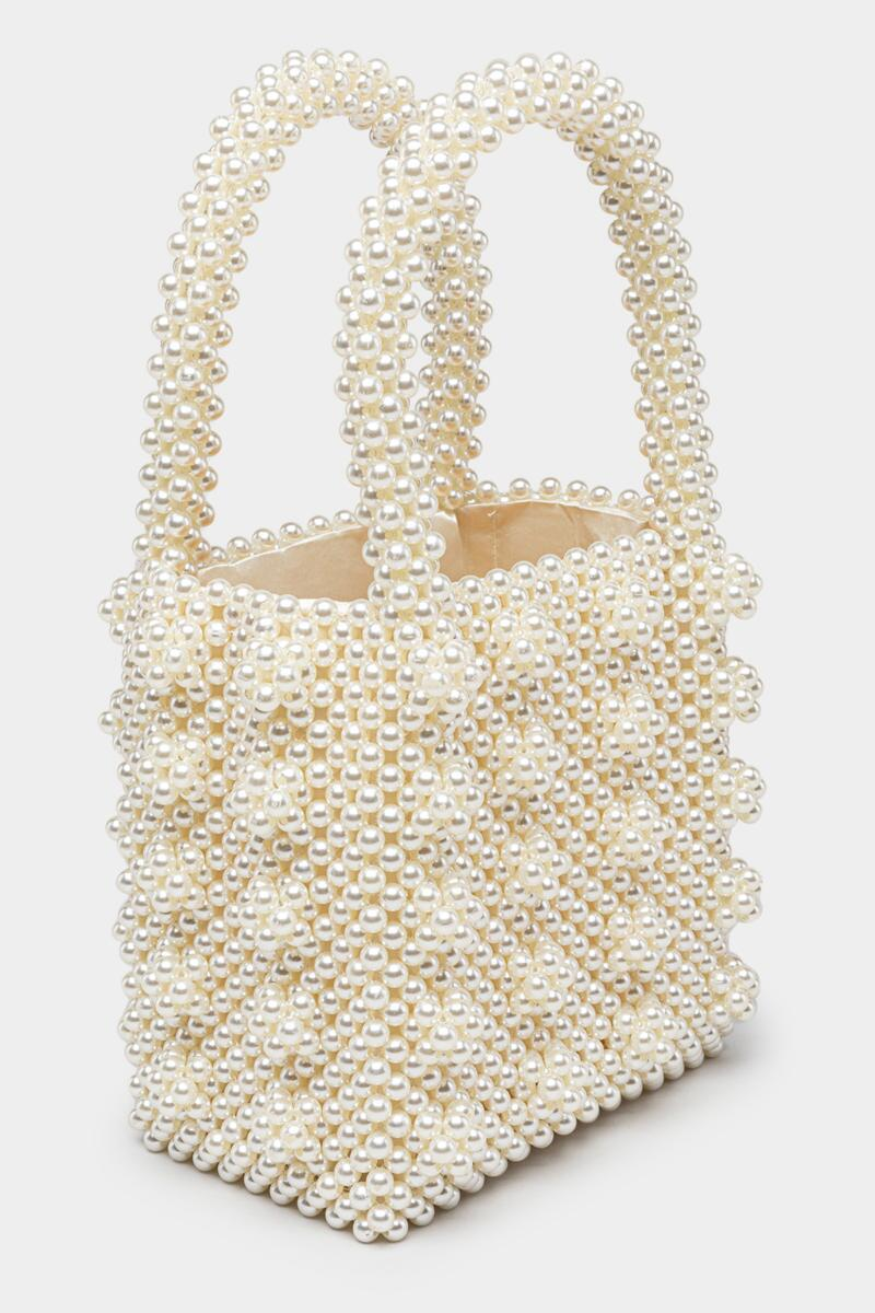 Erin Beaded Pearl Tote-  ivry-cl3