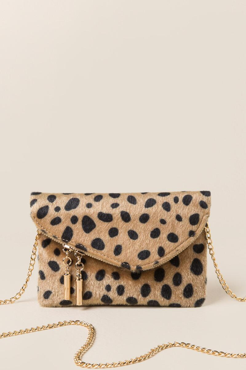 Andrea Mini Angled Leopard Crossbody Clutch