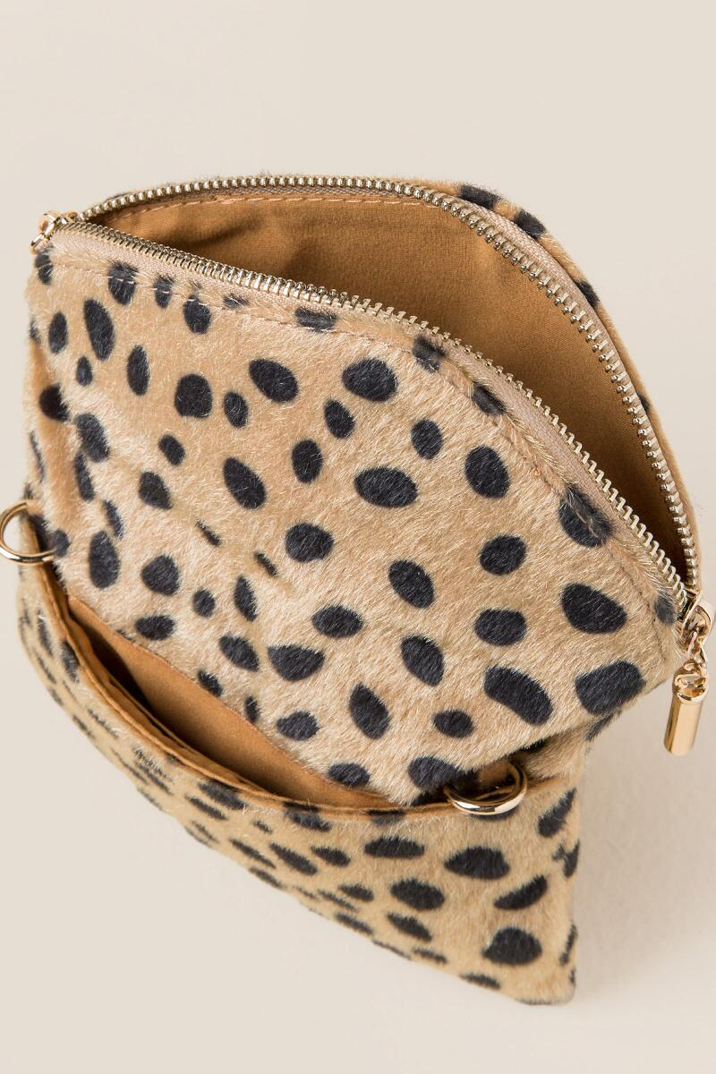 Andrea Mini Angled Leopard Crossbody Clutch-  blk-clinside