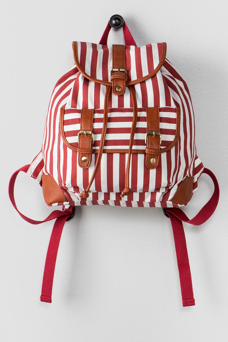 Maggie Stripe Backpack-  red-cl