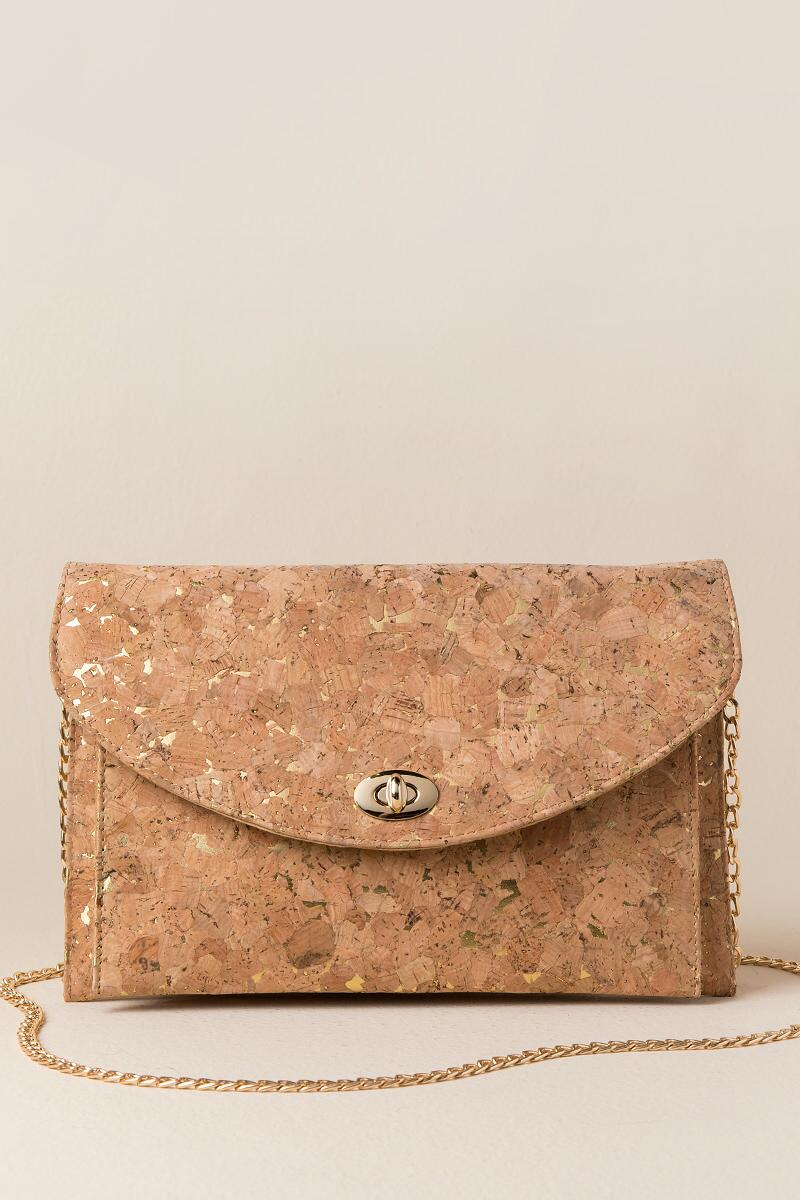 Priscilla Golden Cork Crossbody Clutch