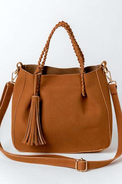 Amy Suede Braided Satchel Handbag