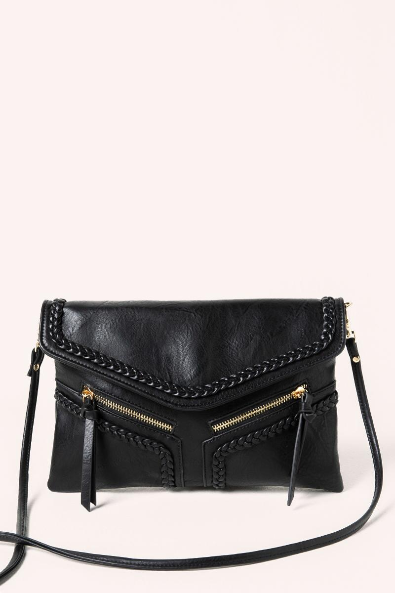 Samantha Vegan Leather Crossbody in Black- Black