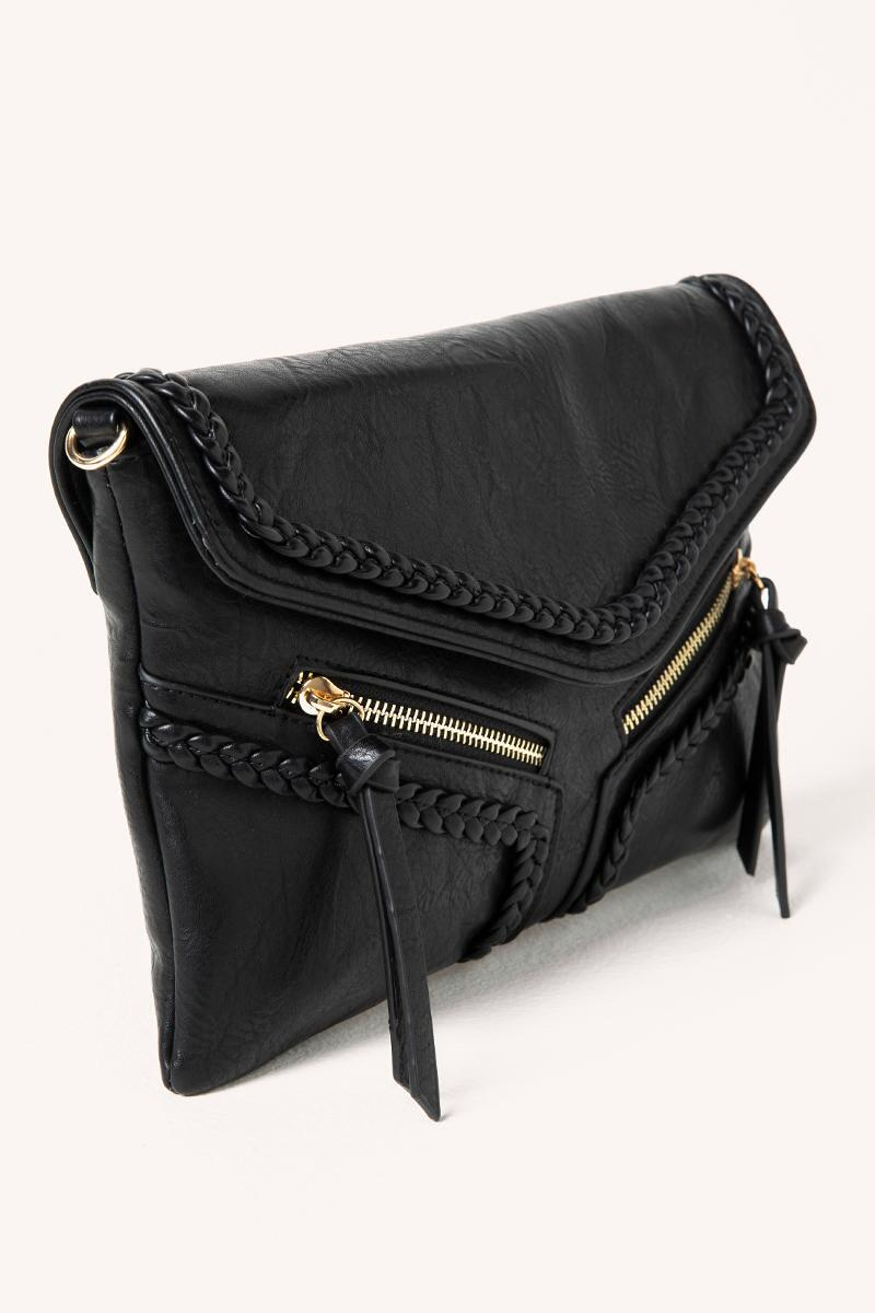 Samantha Vegan Leather Crossbody in Black- Black 2