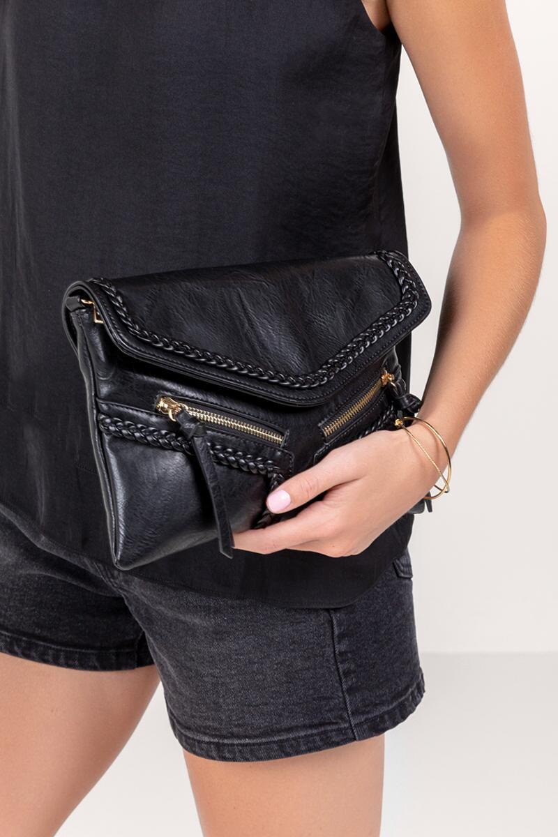 Samantha Vegan Leather Crossbody in Black- Black 4
