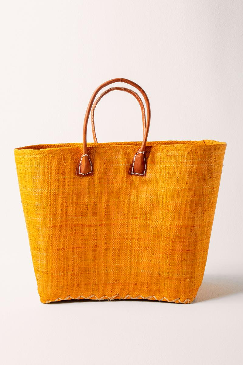 Sally Simple Woven Tote- Mustard