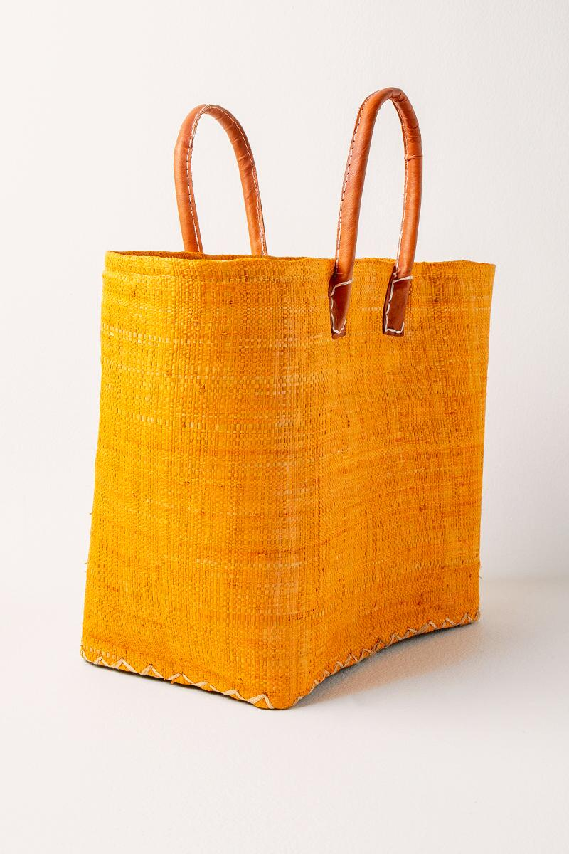 Sally Simple Woven Tote- Mustard 2
