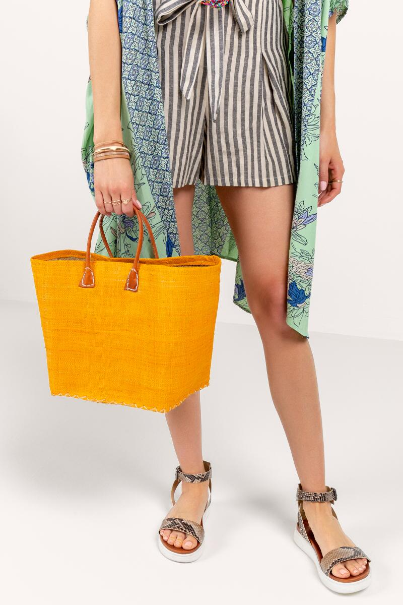 Sally Simple Woven Tote- Mustard 4