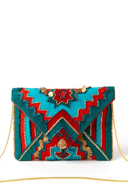 Iris Beaded and Embroidered Clutch