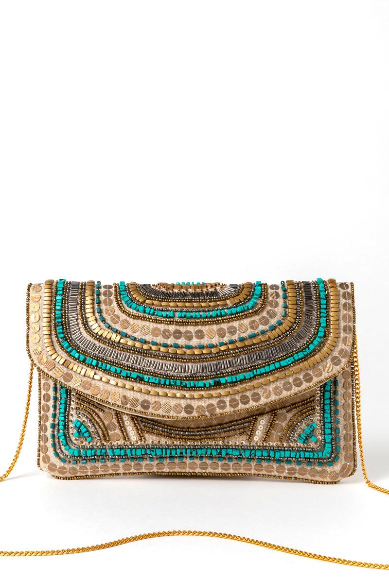 Kendall Beaded Clutch-  turq-cl