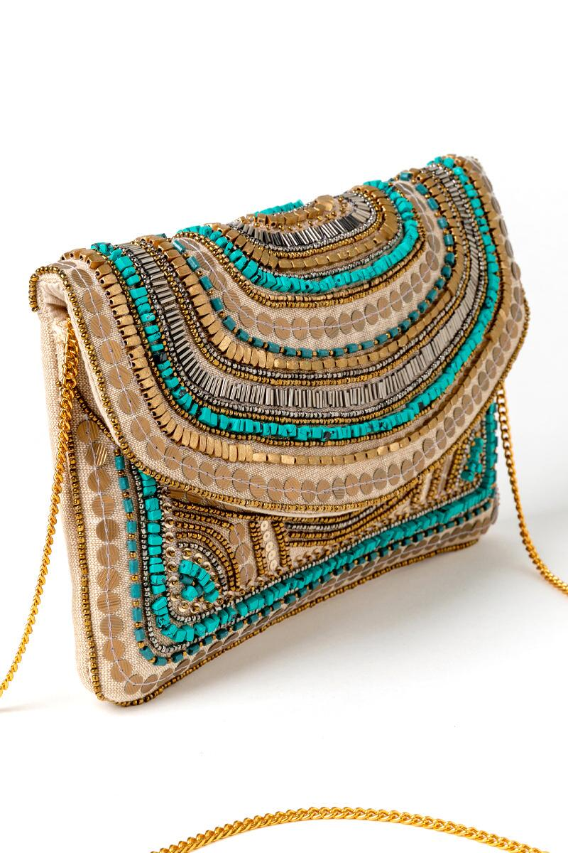 Kendall Beaded Clutch-  turq-cl2