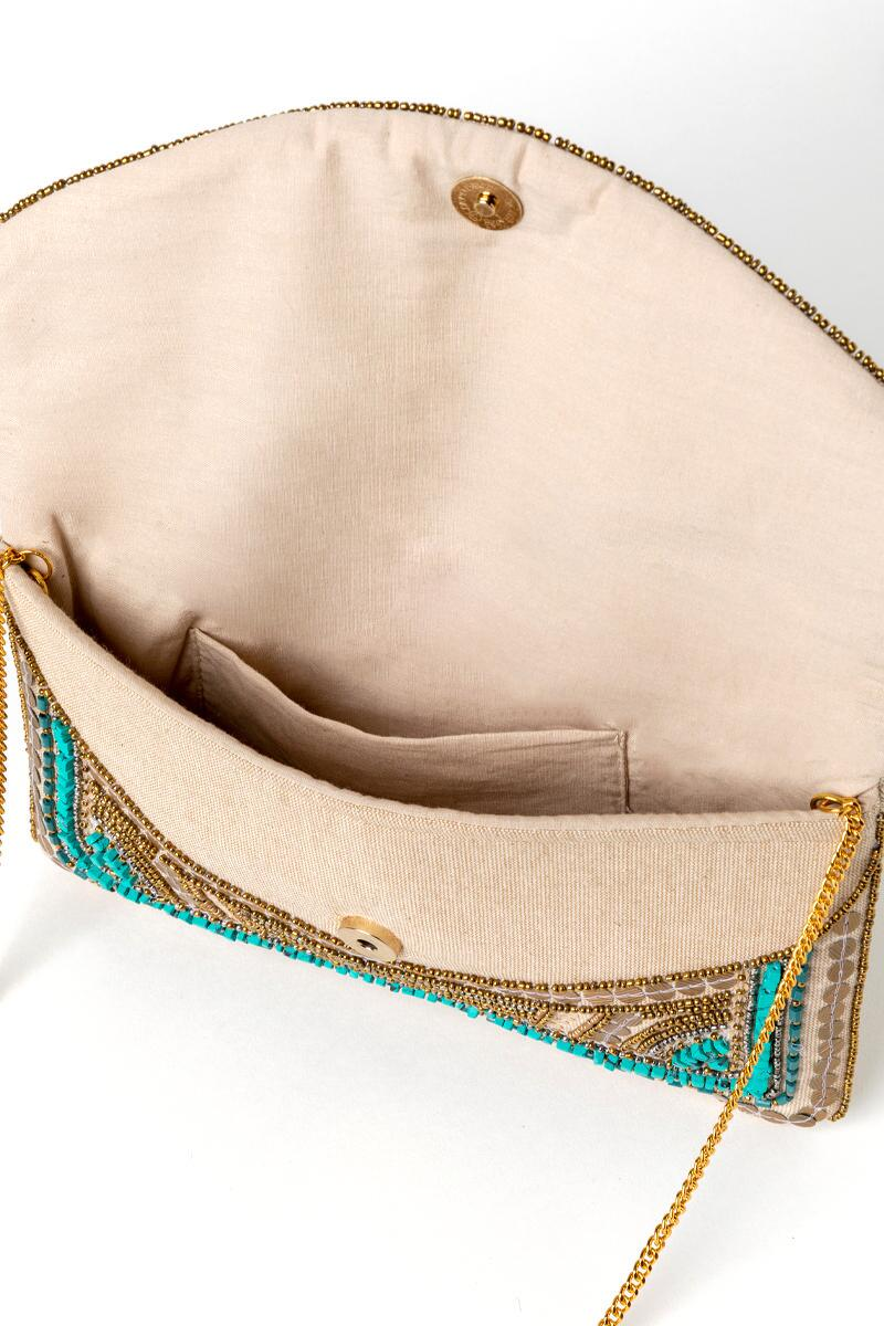 Kendall Beaded Clutch-  turq-cl3