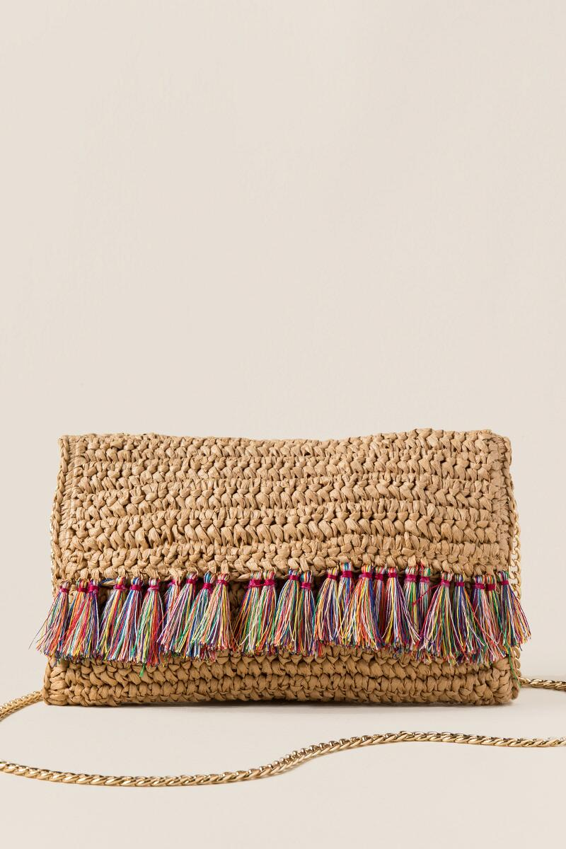 Helena Straw Tassel Crossbody Clutch