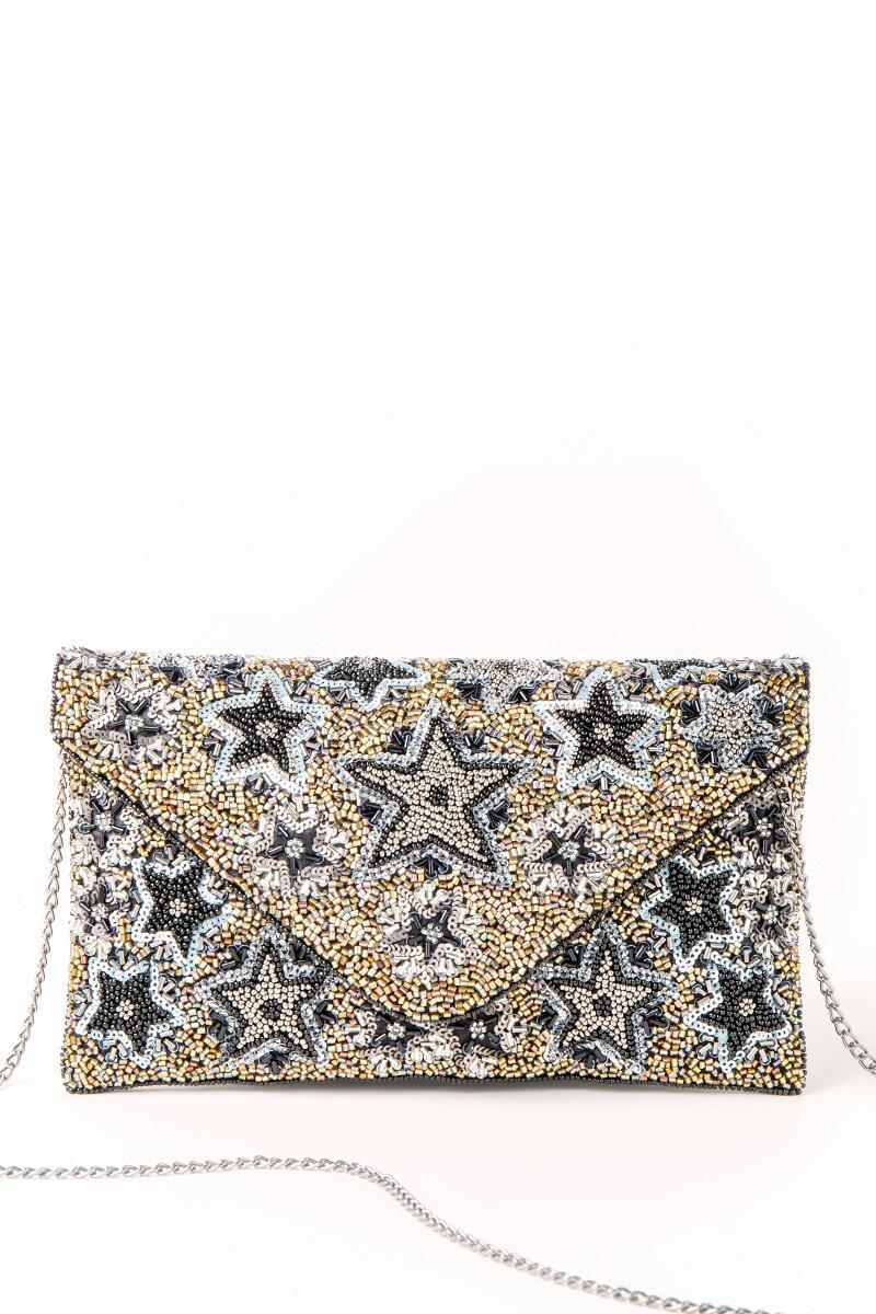 Mona Star Beaded Clutch-  blk-cl