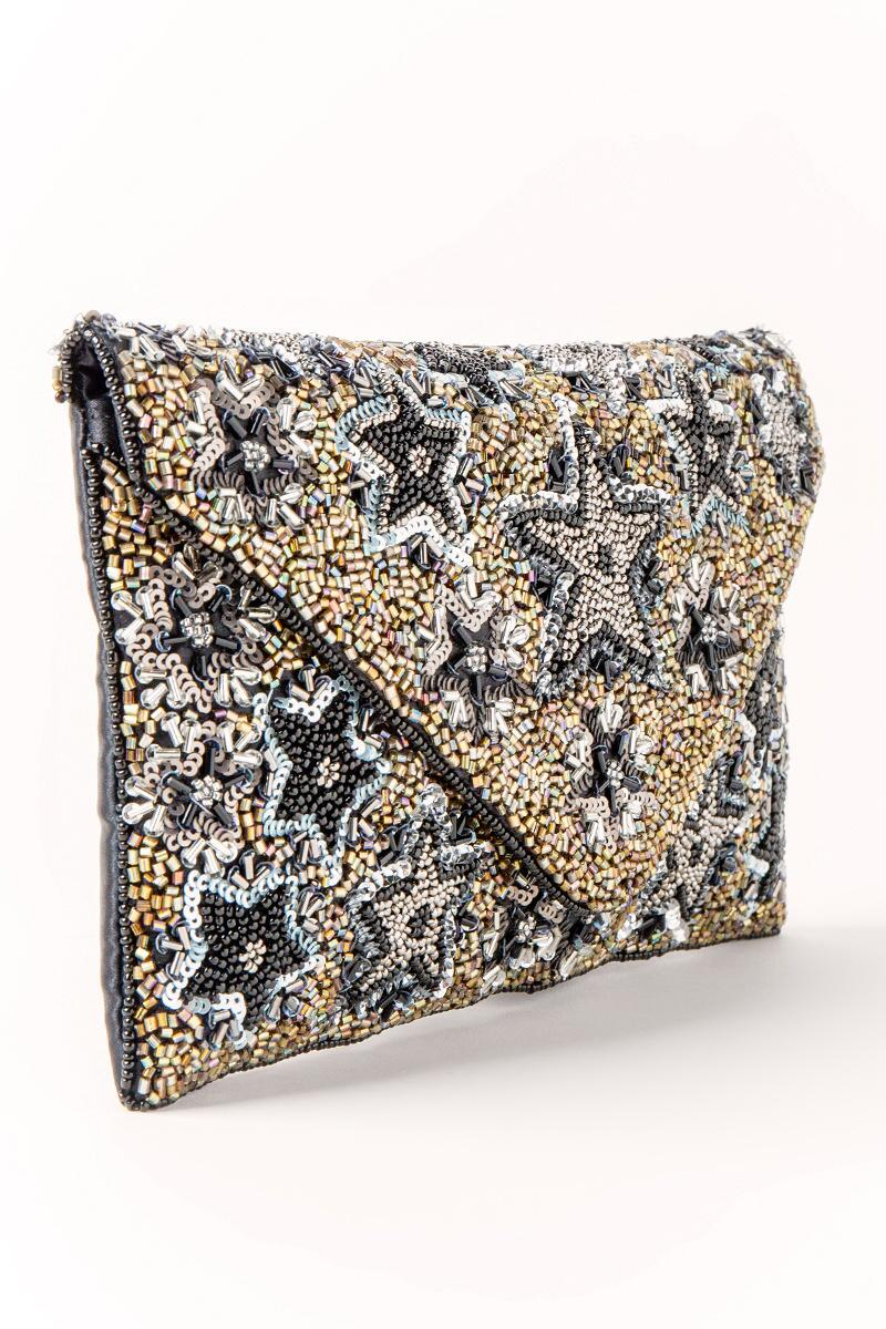 Mona Star Beaded Clutch-  blk-cl2