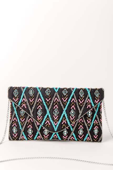 Ella Black Beaded Clutch