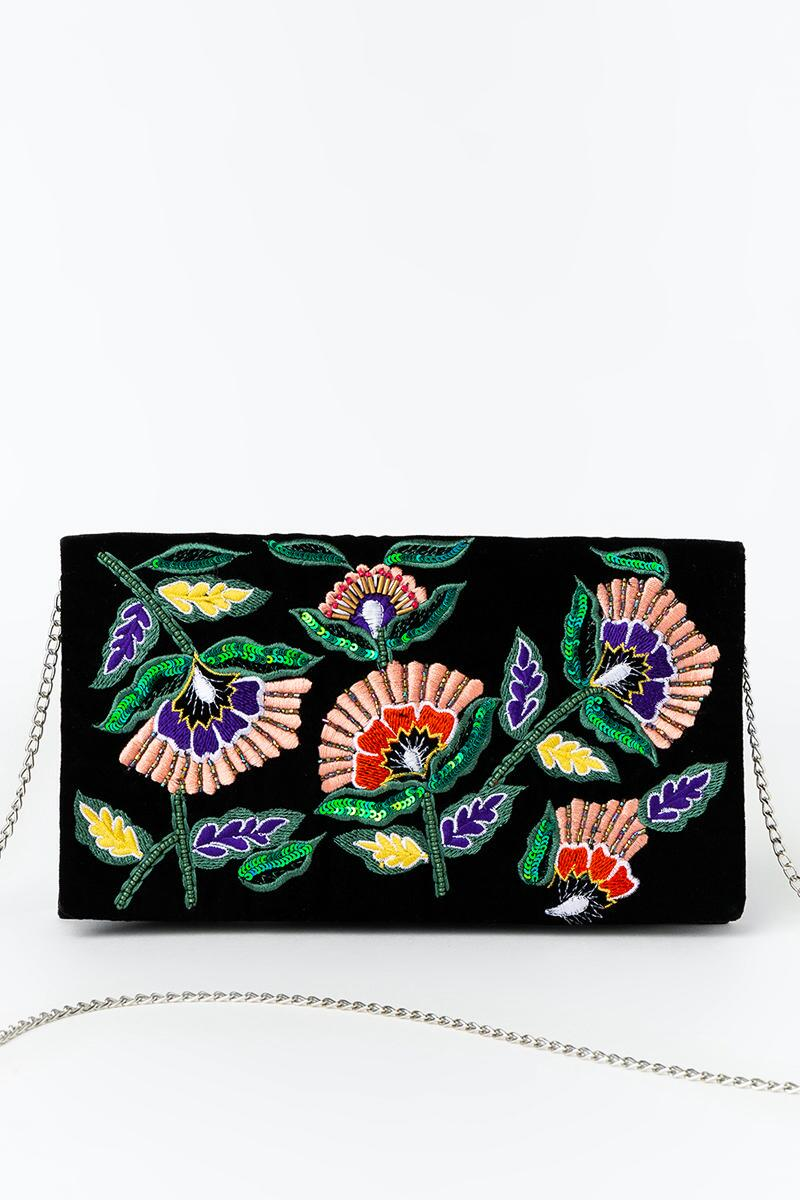 Sena Floral Embroidered Clutch