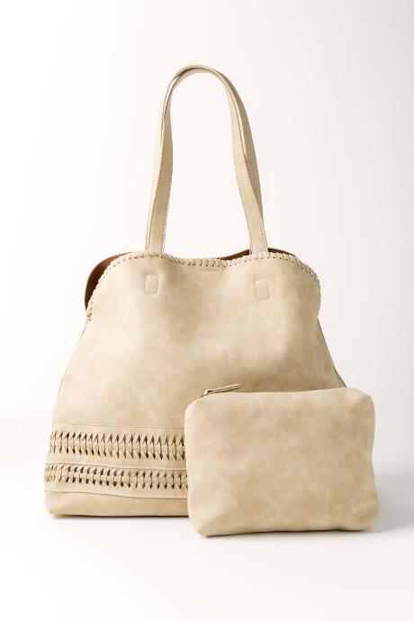 Ivory Whipstitch Detail Tote