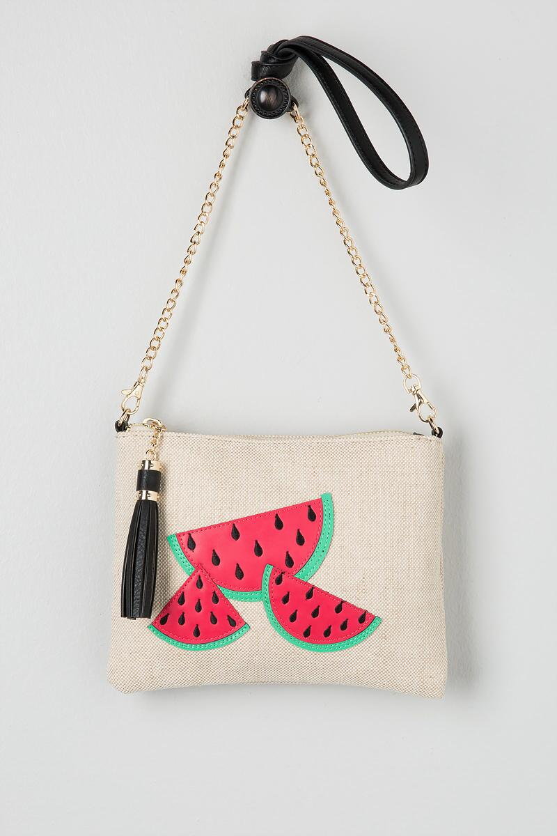 Watermelon Canvas Crossbody Clutch-  red-cl