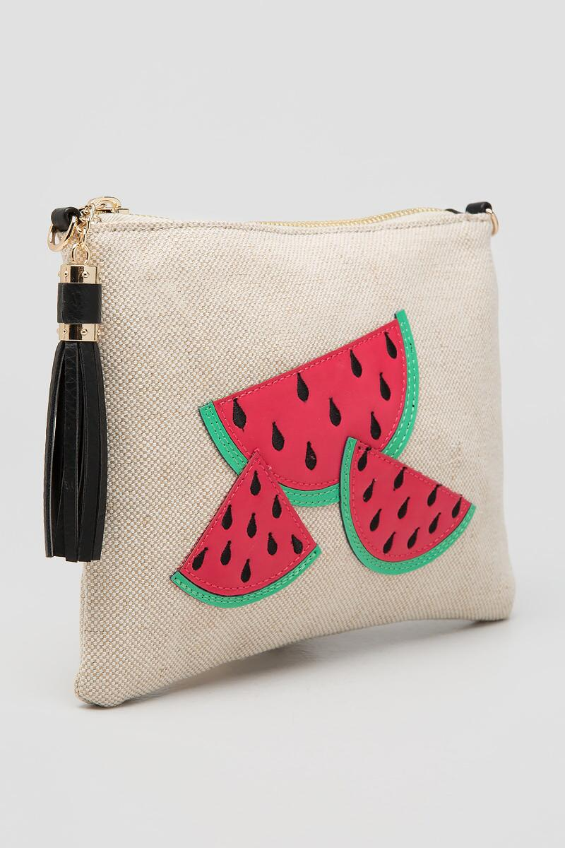 Watermelon Canvas Crossbody Clutch-  red-clside
