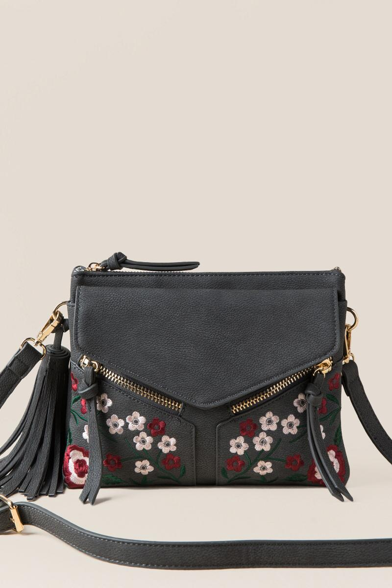 Carmella Floral Double Zip Crossbody-  gray-cl