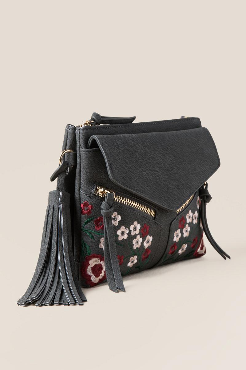 Carmella Floral Double Zip Crossbody-  gray-clside